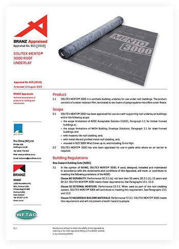 pro clima SOLITEX-MENTO3000 - Branz Appraisal